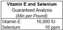 Vitamin E and Selenium Guaranteed Analysis